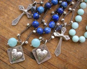 Crochet necklace - CHOOSE your silver charm - Boho Trinkets - Fine silver dainty necklace, Cross necklace, heart necklace, boho jewelry