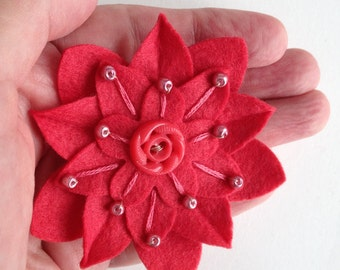 Felt Flower Pin Strawberry on Strawberry with Vintage Button, Hand Embroidery and Strawberry Pearl Beads
