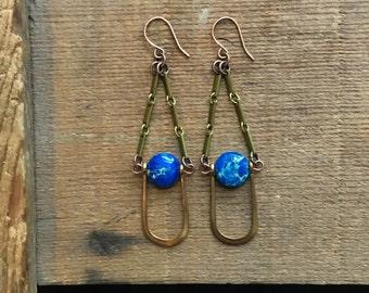 vintage brass / brass earrings / jasper earrings / IMPRESSION JASPER & U
