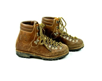 1970's PMS by Stellina Mountaineering Boots, Made in Italy, Brown Leather Hiking Boots