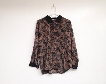 Vintage 1980s Oversize Patterned Collared Blouse