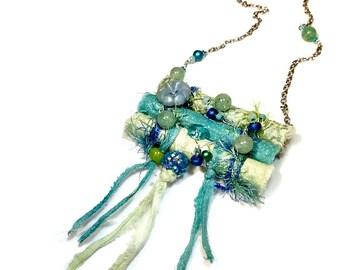 Seafoam Green Long Necklace, Fabric Necklace, Fiber Art Jewelry, Wearable Art
