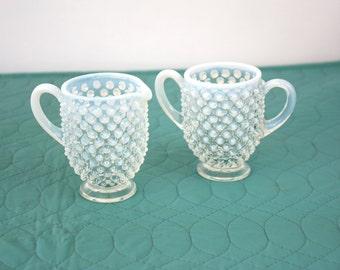 Vintage 40s Sugar & Creamer Small Opalescent Hobnail Glass Sugar Creamer Set
