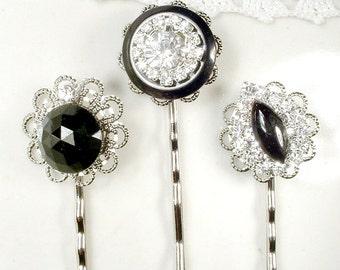 Black & Clear Rhinestone Bridal Hair Pins, Vintage Silver OOAK Bobby Pins Set 3 Bridesmaid Gifts, Black Crystal Clips Wedding Jewelry, Goth