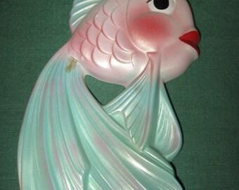 ANTHROPOMORPHIC Iridescent FISH Vintage 1964 MILLER Studio Chalkware Wall Plaque