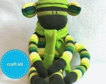 Stuffed toys, Sock Monkey Craft  Kit - Green Stripes, Toy Pattern