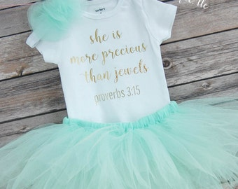 She Is More Precious Than Jewels Outfit; Babygirl Outfit; Baby girl Bodysuit with Tutu