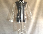 Vintage 70's Clear Plastic Raincoat, Transparent See Through Waterproof with White Trim, Women's Size Medium
