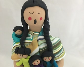 Native American Indian Maiden Standing Storyteller Doll Figurine