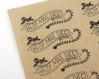 Shop Exclusive Best Mail Ever banner STICKERS - modern hand lettering with florals