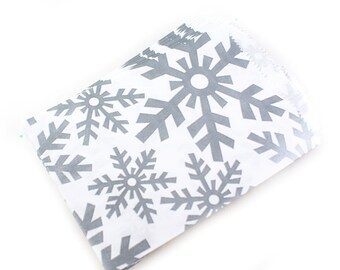 6 1/4 x 9 1/4 holiday bags with silvery-grey snowflake pattern - 25 christmas paper bags with winter snowflakes