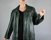Vintage 80s Women's Dark Green Sleek Modern Leather Jacket Coat // Spring Leather Jacket