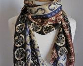 Vintage 80s Women's Brown Blue Tribal Pattern Design Boho Bohemian Southwest Silk Rectangle Long Scarf