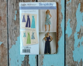 Simplicity Sewing Pattern - Simplicity 2401 - S2401 - Halter Dress - Summer Dress - Halter Jumpsuit - 1970s Retro Jumpsuit - Day or Evening