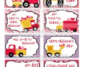 Instant Download Hauling Hearts Valentines Cards DIY Printable Cards Construction Trucks