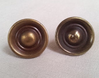 2 Vintage Solid Brass Metal Drawer Pulls, Knobs or Handles, 1-1/4 Inch Diameter Metal Round Knobs, Vintage 1960s Drawer Handles, Knobs,Pulls
