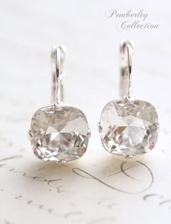Cushion Cut Earrings, Crystal Earrings, Swarovski Crystal Earrings, Square Earrings, Bridal Earrings