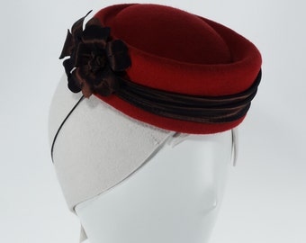 Red wool Felt  Victoria's Fascinator with Brown Taffeta decoration.