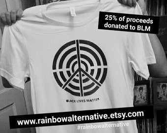 Black Lives Matter shirt t-shirt donation to BLM original street art design by Rainbow Alternative t shirt tee