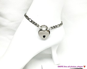 BDSM Ankle Slave Bracelet 316L Stainless Steel Figaro Chain and Heart-Shaped Padlock and Keys Submissive Discreet Jewelry