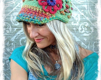 RAINBOW Green Visor Beanie Crochet hat Red FLOWER brim hat HAPPY Boho Green hat womens hats girls hats Brimmed beanie GPyoga
