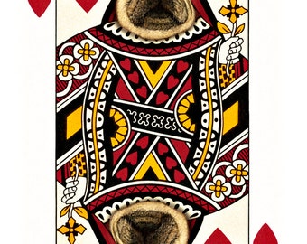 Pug Diva Queen of Hearts Handmade Card