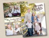 Merry Christmas Branches Custom Holiday Full Photo Card Design - optional backside design