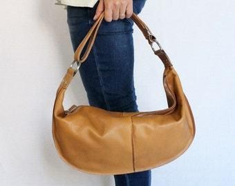 Two-Way Leather Shoulder Bag / Handbag - Caramel
