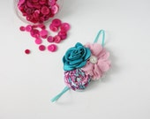 Summer Signature - fuchsia teal and mauve rosette singed satin and chiffon flower headband bow