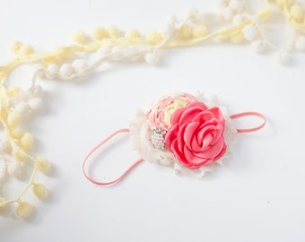 Artful Arrangement - coral yellow ivory rosette chiffon and singed satin rose flower headband bow