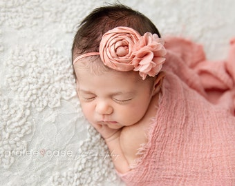 Kind Of Coral - coral blush metallic rosette chiffon flower headband bow
