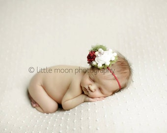 Holly Snow Lightly headband - crimson sage olive and ivory M2M Sweet Honey Merry Dress holiday bow
