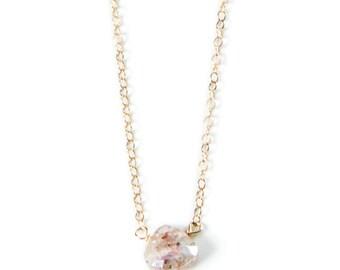Pink Silverite Teardrop Stone Necklace