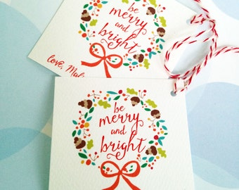 Christmas Tags, Personalized Christmas Tags, Custom Holiday Tags, Be Merry and Bright, Set of 24