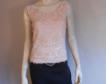 Roger & Mona Sterling's Cocktail Party - Vintage 1960s Petal Pink Wool Tank Sweater w/Sequins Beads - M