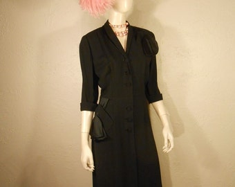 Back To Basics - Vintage 1940s Black Rayon Dress w/Satin Bow Draping - 12/14