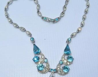 Vintage Signed Bogoff Blue Clear Rhinestone Rhodium Plated Pendant Necklace