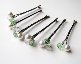 Green and White Hair Pins Cluster Set, Pearl and Peridot Green Swarovski