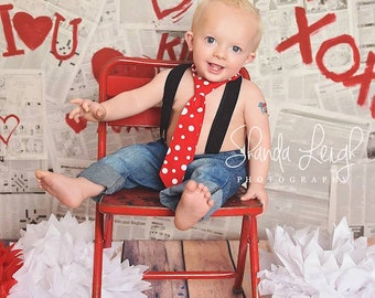 1st Birthday Boy, Boys Red Polka Dot Neck Tie, Cake Smash Tie, Boys Valentine Tie, Baby Tie Photo Prop, Cake Smash Outfit Boy