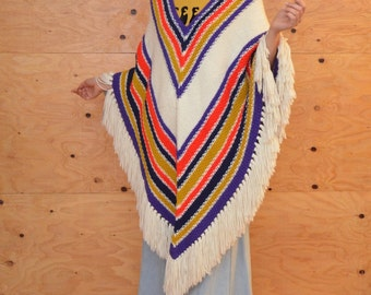 Vintage 70's Long Knit Striped, Dramatic Boho, Hippie Poncho In Cream, Tan, Red & Blue