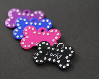 Custom Engraved Rhinestone Dog Tag - Personalized Bling Pet ID Tags