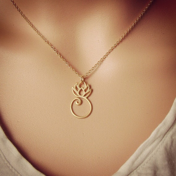 Gold lotus necklace gold lotus charm gold lotus pendant like this item mozeypictures Image collections