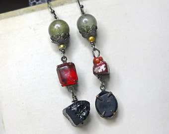 Rustic Assemblage Earrings - Mismatch Dandies - Green Stone, Vintage Ruby, Glass Gem, Crimson Sparkle, Dipped Beads, Black Tourmaline