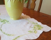 Vintage Linen Runner, Hand Embroidered, White with Green & Yellow, Table Runner