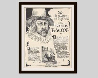 Sir Francis Bacon, Vintage Art Print, Historical Figure, British History, History Lovers Gift, Philosophy, Politics, Science, Literature