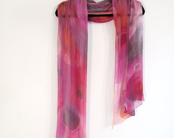 Crinkle Chiffon Silk Scarf, Sheer,  Long ,Wide, Pinks, Fushia, Persimmon and Gray