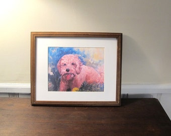 Goldendoodle, Print Of Painting Fetch With 11 x 14 In Mat, Dog Lovers