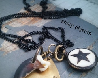 UNTAMED - tribal stamped brass tag, carved cruelty free bone, star, claw & black chain necklace