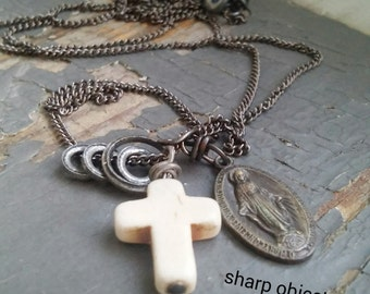 The Madonna - vintage 50s Virgin Mary silver medallion, carved bone cross, charm rings, gunmetal chain NECKLACE