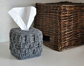 Grey Tissue Box Cover Modern Home Decor Basket Weave Neutral